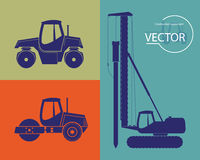 Silhouettes of construction equipment. Set Stock Photos