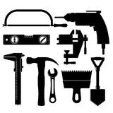 Silhouettes of construction tools Stock Image