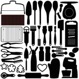 Silhouettes of Cooking, Baking Tools Royalty Free Stock Photography
