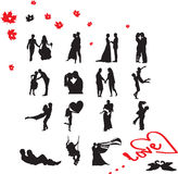 Silhouettes of couple in love Stock Photo