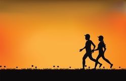 Silhouettes of couple runners with beautiful sky at sunset. Sport and healthy lifestyle vector illustration Stock Images