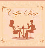 Silhouettes of couple sitting in cafe Royalty Free Stock Photography