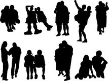 Silhouettes of the couples Royalty Free Stock Photos
