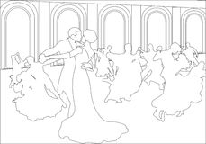 Silhouettes of couples dancing the waltz. Royalty Free Stock Image