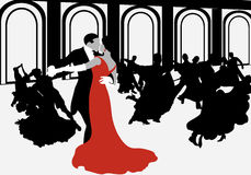Silhouettes of couples dancing the waltz. vector illustration