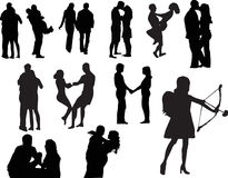 Silhouettes of couples in love Royalty Free Stock Photography