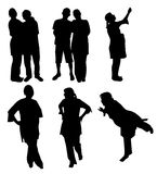 Silhouettes of couples and pregnant women Royalty Free Stock Image