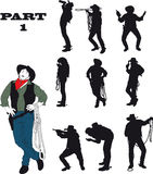Silhouettes of cowboy. In traditional costume in various situations on a white background Royalty Free Stock Image