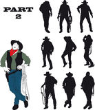 Silhouettes of cowboy. In traditional costume in various situations on a white background Royalty Free Stock Photography
