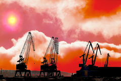 Silhouettes of cranes Royalty Free Stock Image
