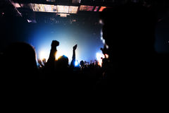 Silhouettes of crowd party concert music happy Royalty Free Stock Images