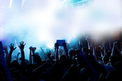 Silhouettes of crowd party concert music happy Royalty Free Stock Image