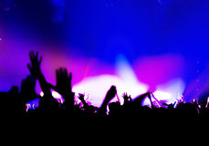 Silhouettes of crowd party concert music happy Stock Photography