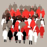 Silhouettes crowds of people in trendy flat style vector illustration