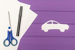 The silhouettes cut out of paper of car Royalty Free Stock Photo