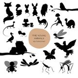 Silhouettes of cute animals isolated on white background. Mammal Royalty Free Stock Photos