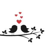 Silhouettes cute birds sing in Love Stock Image