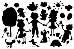 Silhouettes of cute child's life including pets, toys, plants Stock Photo