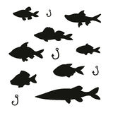 A silhouettes of cute fish with fishing gear. Silhouettes of cute fish with fishing gear Stock Images