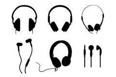Silhouettes d'écouteurs Photo libre de droits