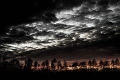 Silhouettes d'arbre au coucher du soleil avec les nuages et le ciel dramatiques Photographie stock libre de droits