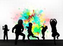 Silhouettes d'enfants Image libre de droits