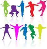 silhouettes d'enfants d'action Image stock