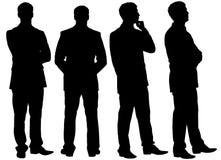 Silhouettes d'homme d'affaires de pensée dans différentes postures Photos stock