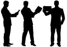 Silhouettes d'homme d'affaires faisant le discours dans différentes postures Images libres de droits