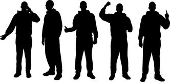 Silhouettes d'hommes Photographie stock