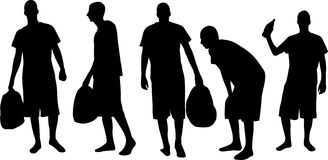 Silhouettes d'hommes Photo libre de droits