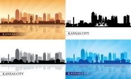 Silhouettes d'horizon de Kansas City réglées Photographie stock