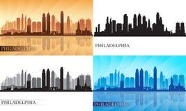 Silhouettes d'horizon de ville de Philadelphie réglées Photographie stock libre de droits