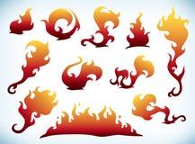 Silhouettes d'incendie Photographie stock libre de droits