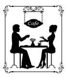 Silhouettes d'un couple affectueux dans le cadre de café et de vintage Image libre de droits