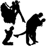 Silhouettes Dance 05 Royalty Free Stock Photos