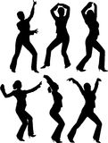 Silhouettes of dancers. Silhouettes of some girls dancing royalty free illustration