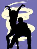 Silhouettes of  dancers. Illustration Stock Photo