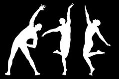 Silhouettes of dancers in dancing concept Royalty Free Stock Photos