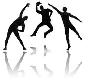 Silhouettes of dancers in dancing concept Stock Photography