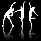 The silhouettes of dancers in dancing concept Stock Images
