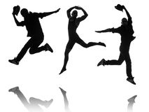 The silhouettes of dancers in dancing concept Stock Image