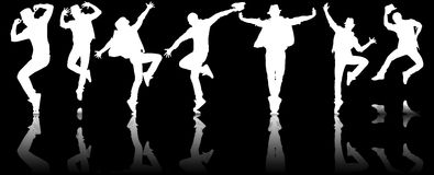 The silhouettes of dancers in dancing concept Stock Photos