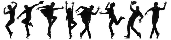 The silhouettes of dancers in dancing concept Royalty Free Stock Images