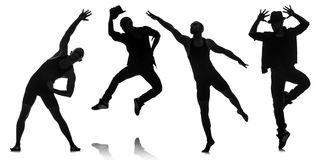 The silhouettes of dancers in dancing concept Royalty Free Stock Photography