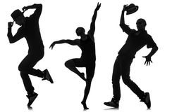 The silhouettes of dancers in dancing concept Royalty Free Stock Photo