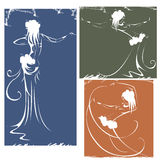 Silhouettes of dancers hula,bellydance, tribal Stock Photos