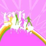 Silhouettes dancing. On a rainbow Stock Photos