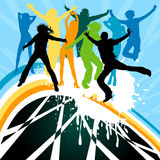 Silhouettes dancing. On a rainbow Royalty Free Stock Photography
