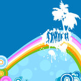 Silhouettes dancing. On a rainbow Stock Photography